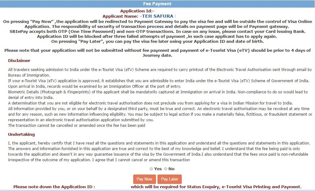 cancel indian tourist visa application